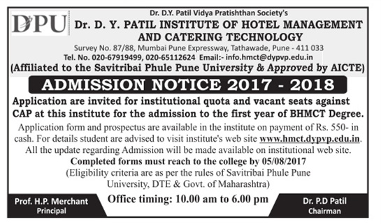 Admission open at DY.Patil Institute Of Hotel Management and Catering Technology