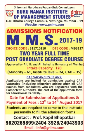 Admission open at Guru Nanak Institute of Management Studies