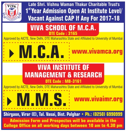 Admission open at VIVA school of MCA