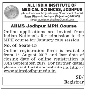 Admission open at All India Institute of Medical Science for MPH