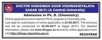 Admission open at Doctor Harisingh Gour Vishwavidyalaya Sagar for Ph.D Chemistry