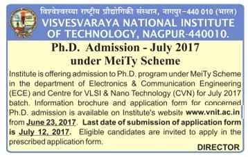 Visvesvaraya National Institute of Technology Admission in Ph.D