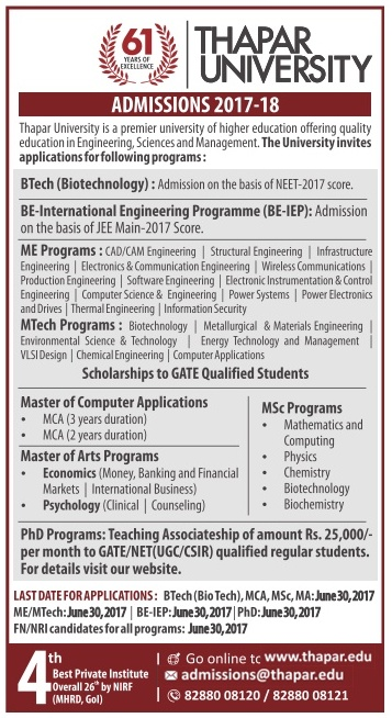 Thapar Institute of Engineering & Technology admission for Degree,Master And Ph.D