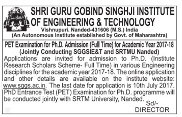 Shri Guru Gobind Singhji Institute of Engineering and Technology Admission For Ph.D
