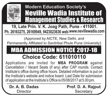 Admission for MBA at Neville wadia institute of management