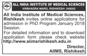 All India Institute of Medical Sciences, Rishikesh invites for admission in PhD
