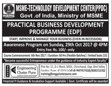 MSME-TECHNO LOGY DEVELOPMENT CENTER(PPDC) PRACTICAL BUSINESS DEVELOPMENT PROGRAMME (EDP)