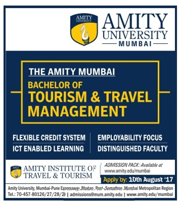 Admission open for Bachelor of tourism and travel Management at Amity Mumbai