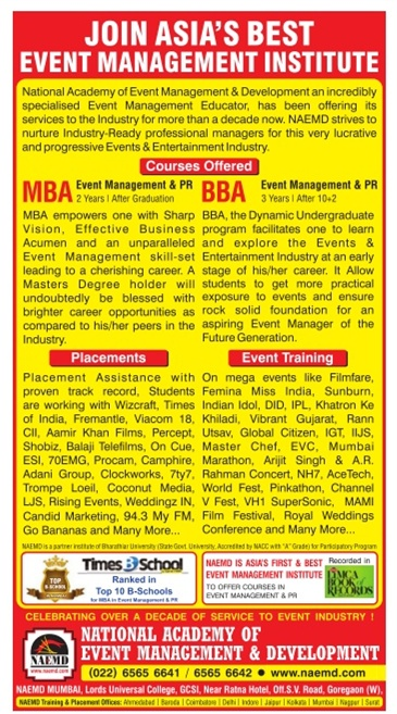 Admission for Event Management Courses by NAEMD