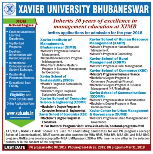 Admission open at Xavier University