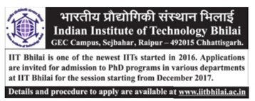 Admission open at IIT Bhilai for Ph.d