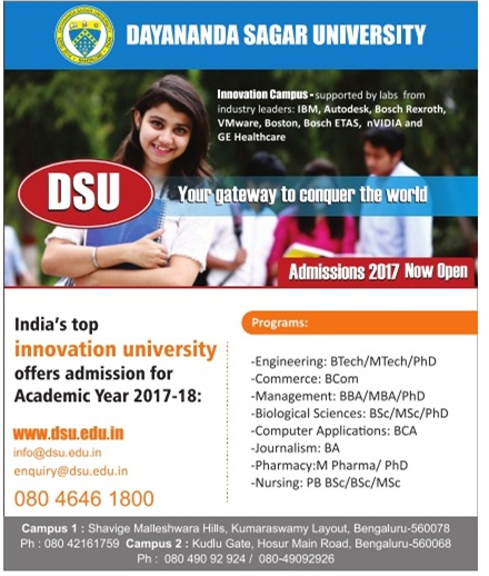 Admission open at Dayananda Sagar University