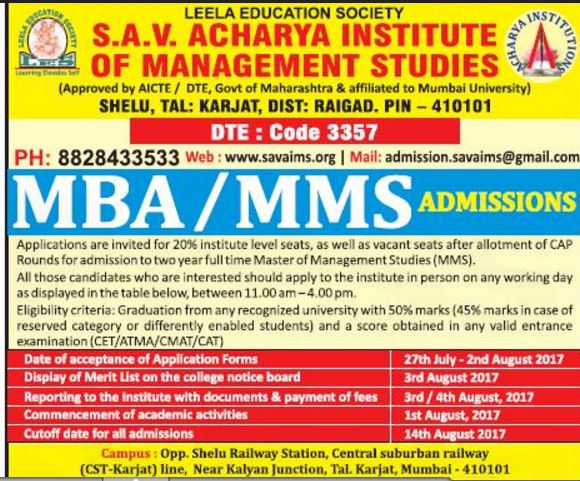 Admission for MBA at S.A.V. Acharya Institute of Management Studies