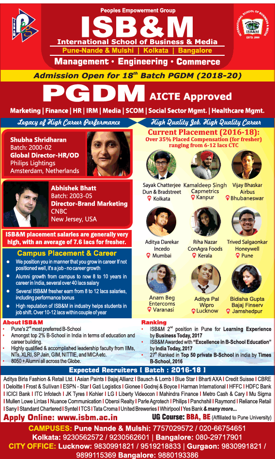 ISB&M OFFERS Post Graduate Diploma in Management (PGDM) Programme