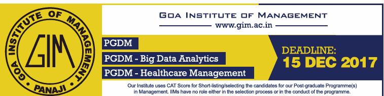 Goa Institute of Management Admission for PGDM