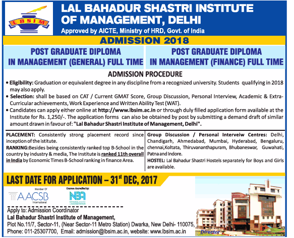 Lal Bahadur Shastri Institute of Management Admission for PGDM