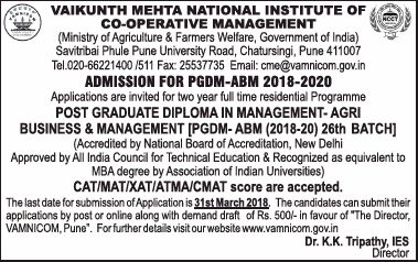 Vaikunth Mehta National Institute of Cooperative Management Admissions open for PGDM