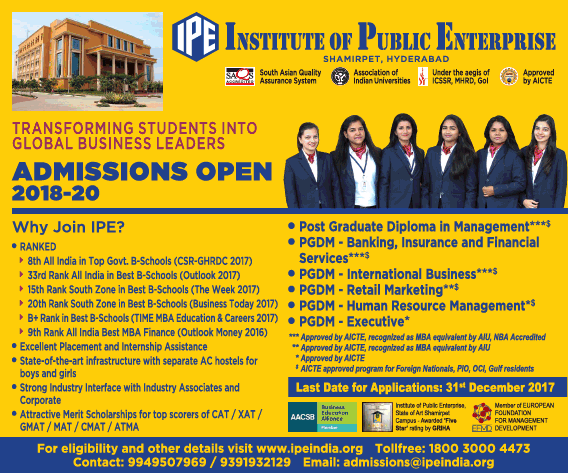 Institute of Public Enterprise Admission for PGDM