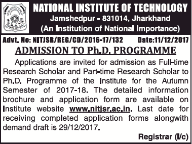 NATIONAL INSTITUTE OF TECHNOLOGY JAMSHEDPUR FOR Ph.D