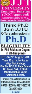 Admission open JJT university