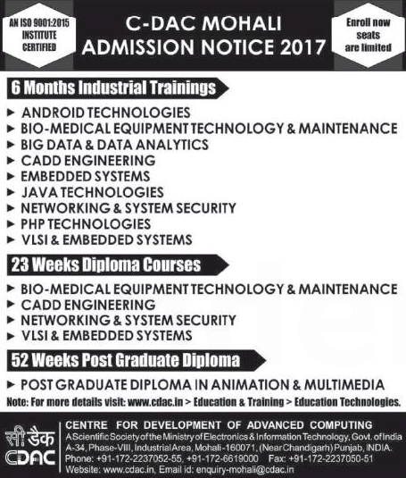 Admission for C-DAC Mohali