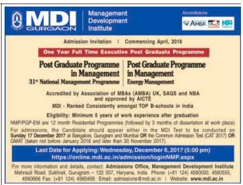 Admission open at MDI Gurgoan