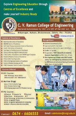 C. V. Raman College of Engineering, Bhubaneshwar Admission For UG/PG