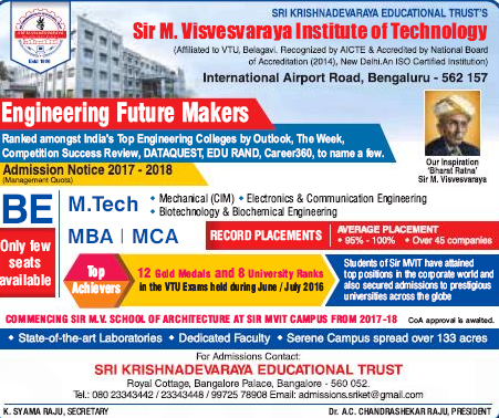 Sir M Visvesvaraya Institute of Technology (Sir MVIT) Admission For BE,M.Tec,MBA,MCA