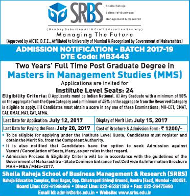 Sheila Raheja School of Business Management & Research (SRBS) Admission For MMS