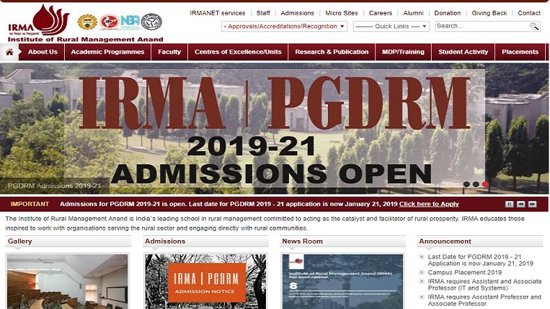 IRMA admissions 2019