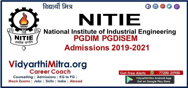 NITIE PGDIM/PGDISEM Admissions 2019-2021