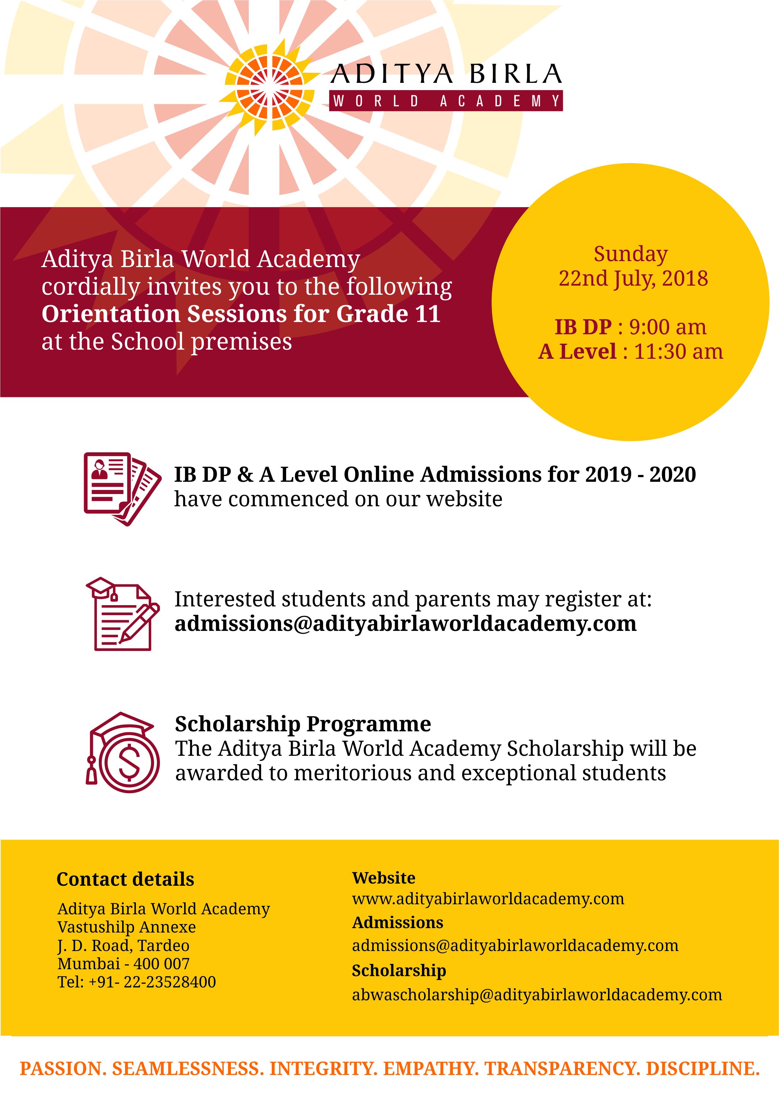 Aditya Birla World Academy admission 2018