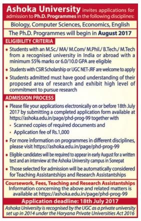 Admission for Ph.d at Ashoka University