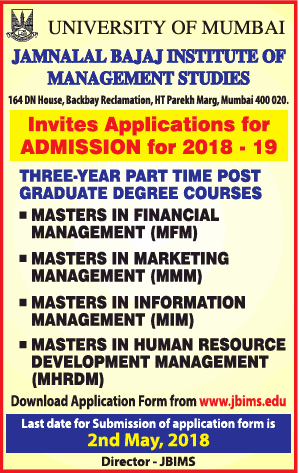 Jamnalal Bajaj Institute of Managenment Studies Admissions for 2018