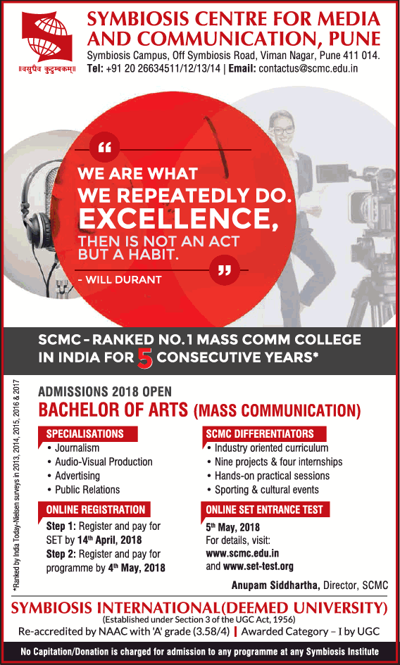 Addmissions Open For Bachelor of Arts In Symbosis Center for Media and Communication ,Pune
