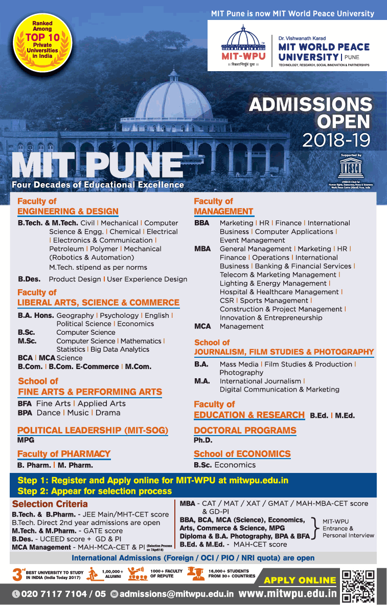 Admisions Open for MIT World Peace University, Pune