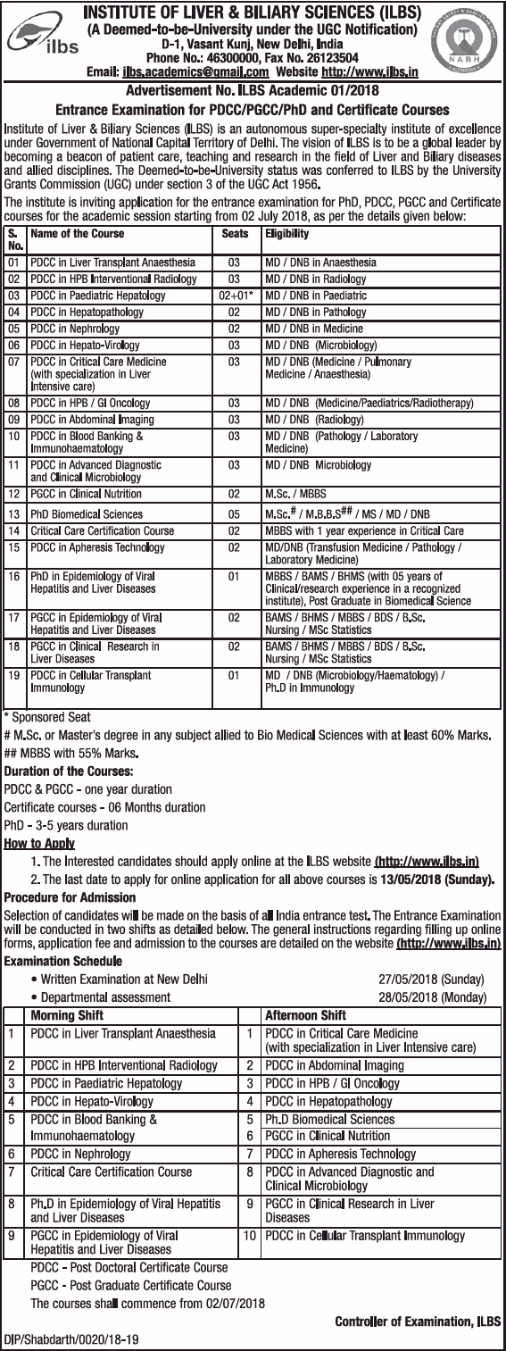 Institute of Liver & Biliary Sciences (ILBS) Admissions Open for 2018