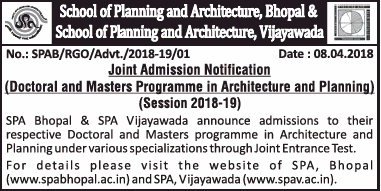 Admissions Open For School of Planning and Architecture Bhopal And Vijayawada