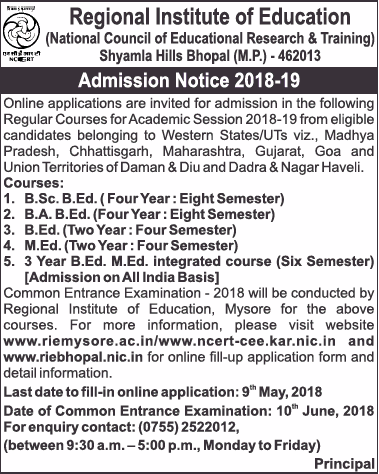 Addmissions Open For Regional Institute of Education (RIE), Bhopal