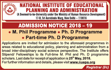 Admissions Open For National Institute of Educational Planning and Administration (NIEPA)