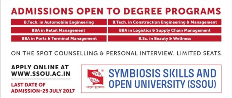 Symbiosis Skills And Open University Admission for B.tech,B.Sc,BBA