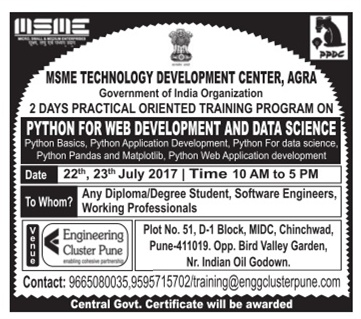 MSME TRAINING FOR PYTHON WEB DEVELOPMENT AND DATA SCIENCE