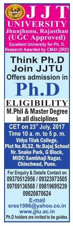 JJT university admission for Ph.d