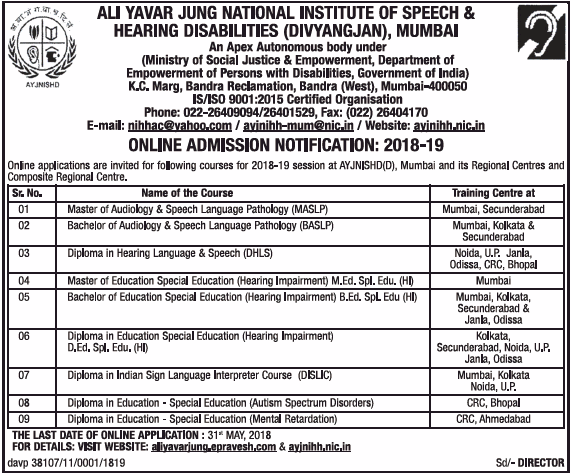 Admissions Open For Ali Yavar Jung National Institute for the Hearing Handicapped, Mumbai