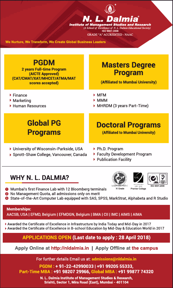 Admissions Open For N. L. Dalmia Institute for Management Studies And Research