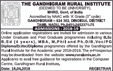 Admissions Open For Gandhigram Rural Institute