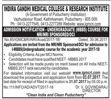 IGMCRI (Puducherry) ADMISSION MBBS FOR NRI