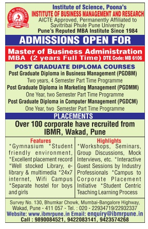 IBMR(PUNE) ADMISSION FOR PG COURSES