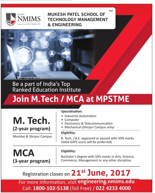 MPSTME admission for M.tech & MCA