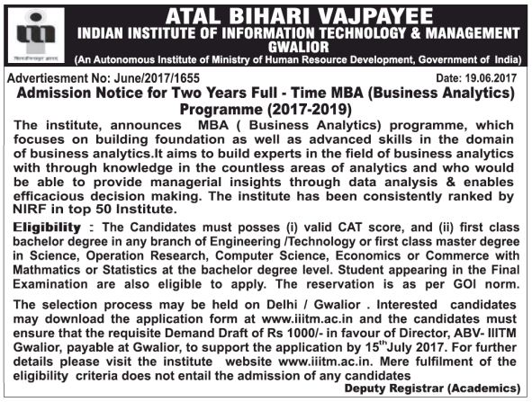 ABV-IIITM(GWALIOR) ADMISSION FOR MBA(BA)